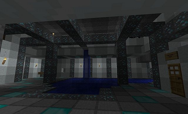 When you first walk through the door  this is what you see Diamond Indoor Pool with Secret Treasure Room Minecraft Project. Cool Secret Room Ideas Minecraft. Home Design Ideas