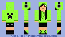 girl in green creeper hoodie Minecraft Skin