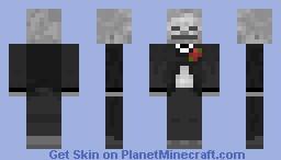 Fancy  Skeleton w/ red flower Minecraft Skin