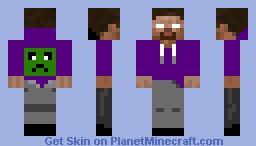 Herobrine n a purple hoodie Minecraft Skin