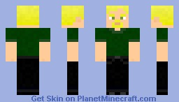 Green shirt-black jeans-blonde hair-male Minecraft Skin
