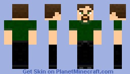 Green shirt-black jeans-brown hair-male Minecraft Skin