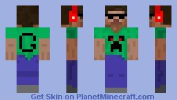 Steve with beats, shades and a creeper shirt (gun67 version) Minecraft Skin