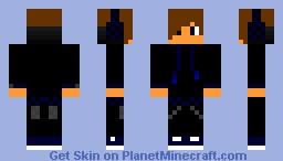 Black and Blue hood Minecraft Skin