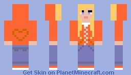 Hoodie Girl Orange Minecraft Skin