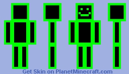 Lines in Neon Green (Updated)(Transparent) Minecraft Skin