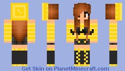 Yellow Mustache Girl! Minecraft Skin