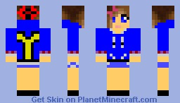 Girl, Blue Hoodie Minecraft Skin