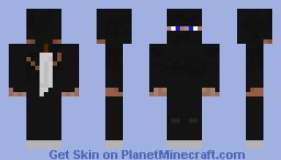 dark ninja warrior with sword on back Minecraft Skin