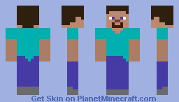 No-Shading Steve Minecraft Skin