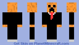 Orange Creeper In A Suit Minecraft Skin