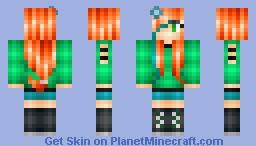 Peachy/Orange haired girl Minecraft Skin