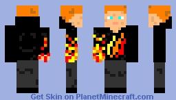 Preston's Fire Merch On Fire Minecraft Skin
