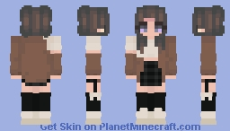 Adorable girl in brown jacket Minecraft Skin