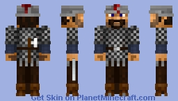 Medieval swiss mercenary pikeman with helmet,chainmail,sword and axe (without pike) Minecraft Skin