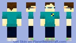 turquoise nerd Minecraft Skin