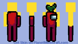 𝓛𝓸𝓷𝓰 𝓛𝓮𝓰 𝓑𝓞𝓘 (Red,Yellow Background, Leaf Hat: Among Us) (Java Compatible) Minecraft Skin