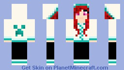 Red haired creeper hoodie girl Minecraft Skin
