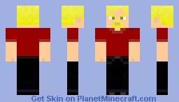 Red shirt-black jeans-blonde hair-male Minecraft Skin