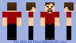 Red shirt-black jeans-brown hair-male Minecraft Skin