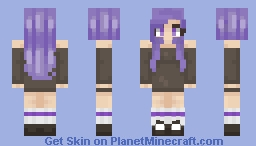 Requested by HannahMinecraft (Purple Girl dressed in Long sleeves that is off shoulder. Also in sneaker.) Minecraft Skin