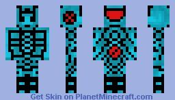 War Robot turquoise 3D Minecraft Skin
