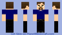 Blue shirt-black jeans-brunette Minecraft Skin