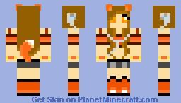 Furry orange(ish)girl with earphones.Plus a tail Minecraft Skin