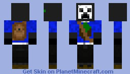 White creeper with backpack and minecraft icon Minecraft Skin