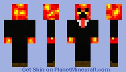 Magma creeper in suit (Red tie) Minecraft Skin
