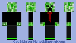Creeper in a suit - tuxedo with red tie -Diamond if you like it, please!