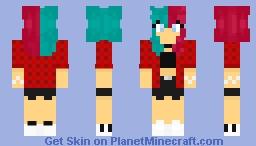 Grunge girl with split dyed hair Minecraft Skin