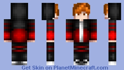 Red and Black hooded Minecraft Skin