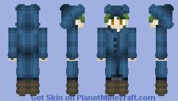 Green-Haired Boy in a Blue Raincoat [Skin Request Yui] Minecraft Skin