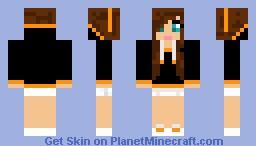 Hoddie Girl Orange Minecraft Skin