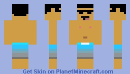 Excited Man in Bathing Suit (3-D Ears & Sunglasses) Minecraft Skin