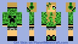 Green Creeper Hoodie Minecraft Skin