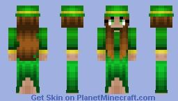 St Patricks Day - Brunette Girl - Green Dress Minecraft Skin