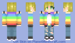 Rainbow Jacket and Ripped Jeans REMAKE Minecraft Skin