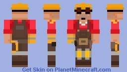 Team Fortress 2 (2007) - Engineer REMAKE (RED) Minecraft Skin