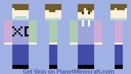 xd gang pastel pink, blue, and blue/and light blue turtle neck /w no hoodie Minecraft Skin