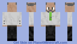 Suit Pants, White Shirt Old Man Green Tie Minecraft Skin