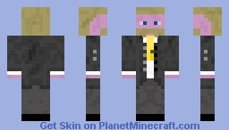 Suit Man with Yellow Mustache Minecraft Skin