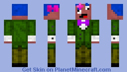 Suit Derp Green, Pink Bow Tie, Blue Hair, Pink Hair Ribbons Minecraft Skin
