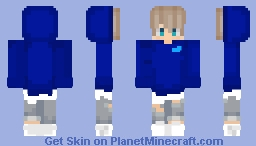 Blue Hoodie, Ripped Jeans Minecraft Skin