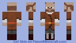 Medieval Brown Tunic Man with Thick Boots - BALD Minecraft Skin