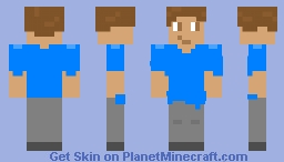 guy with brown hair and a blue T-shirt Minecraft Skin