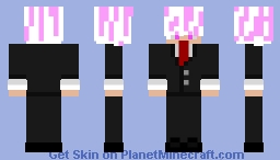E-Boy with pink and white hair in a suit Minecraft Skin