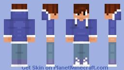 Dark blue hoodie boy dark brown hair Minecraft Skin