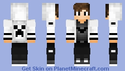 cool boy with white t-shirt cute Minecraft Skin